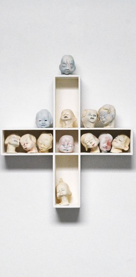 céramique têtes réduites Tsantsa Jivaros